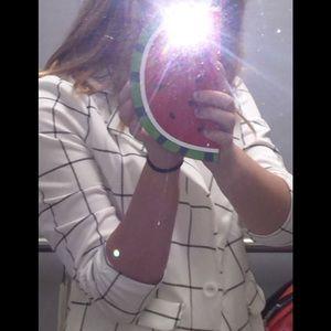 grid print long sleeve jacket